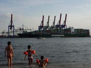 View from the Beach to the Container Loading Bay